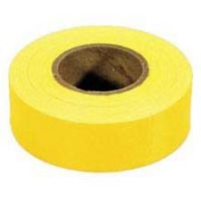 Tape-Flag Flagging is a colored non-adhesive tape used in marking objects. It is commonly made of PVC or vinyl, and wood fibre cellulose-based biodegradable flagging also exists.