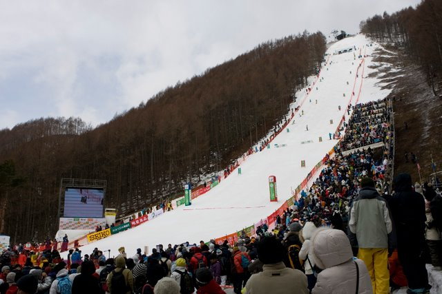 Image:Mogul Course set up from strat to finish WSC 2009 Inawashiro JPN.jpg