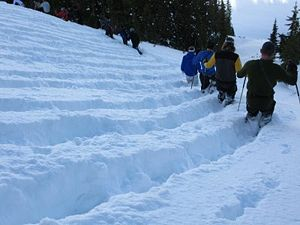 Boot Packing The mechanical reworking of snow to harden it and to prevent depth hoar formation, usually by a large number of people walking up and down the slopes. This affects deeper layers than ski-cutting. This compresses any depth hoar which has formed and helps prevent its formation by decreasing pore space. Boot packing increases snow density and strength. This method is generally limited to small areas due to the manpower required.
