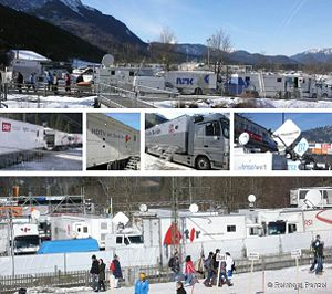 Broadcast Compound is a specific area at a venue designated for the parking and operation of mobile technical and production trucks, office trailers and other vehicles.