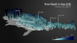 The actual depth of snow on the ground at any instant during a storm, or after any single snowstorm or series of storms.